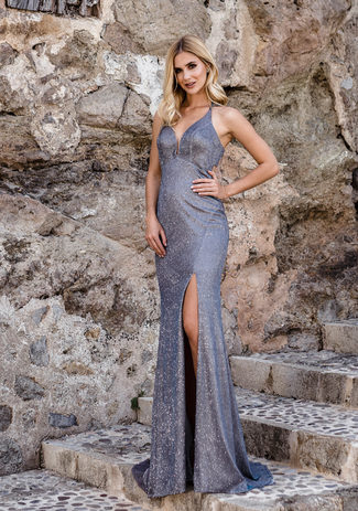 La longitud del piso Glitzerabendkleid en Glitter Grey & Purple
