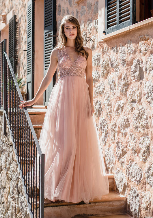 Tulle evening dress, with Rhinestones in Dawn Pink