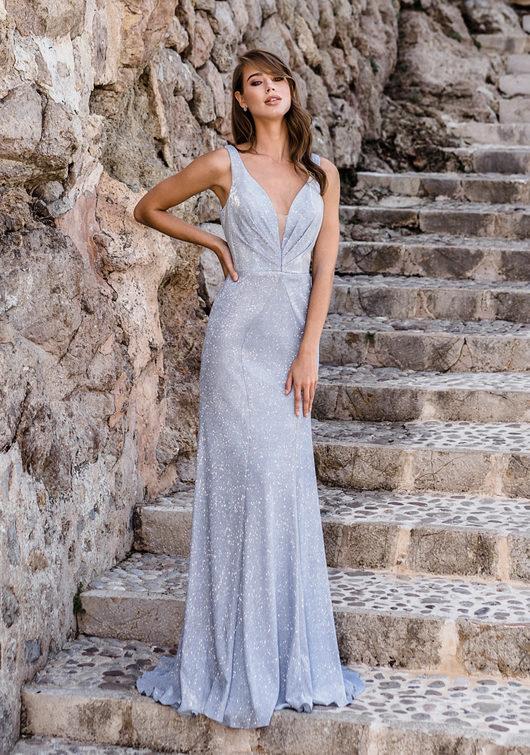 Glitter evening dress in Glitter Aqua