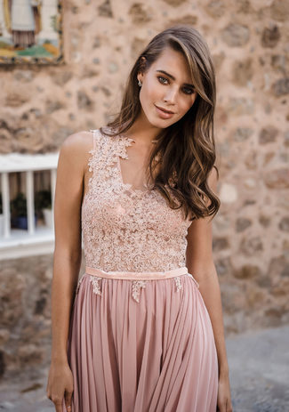 Chiffon evening dress in Dawn Pink