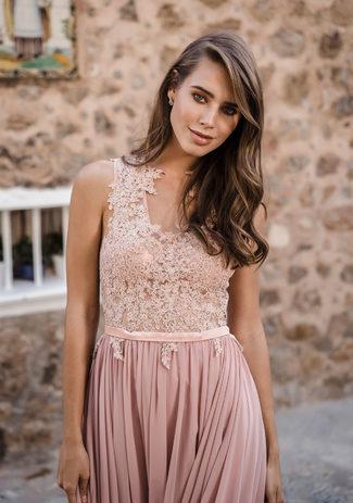 Gasa Vestido de noche en el Amanecer Rosa