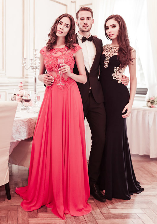 Chiffon evening dress with handmade lace in Lollipop Red