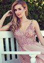 Abendkleid aus Tüll mit Strassbesatz in Dawn Pink