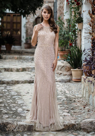 Rhinestone evening dress in the Night Beige