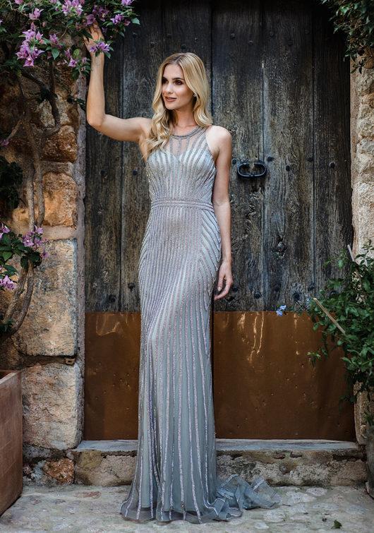 Rhinestone evening dress in Ghost Grey