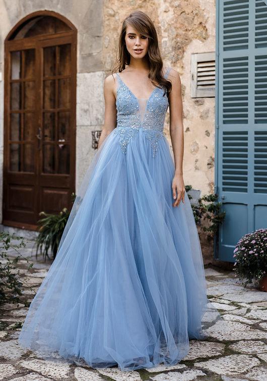 Ausgestelltes Tüll Abendkleid in Aqua Blue