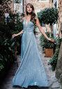 Vestido de noche brillante con decoración de strass en glitter aqua