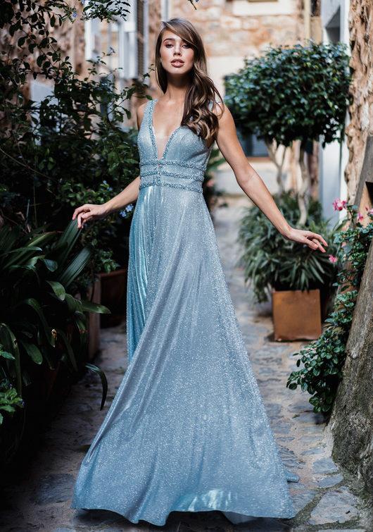 Glitter evening dress with rhinestone decor in glitter aqua