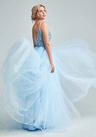 Evening dress made of tulle with Rhinestones in Aqua Blue