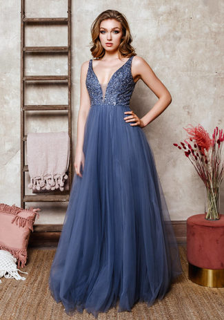 Evening dress made of tulle with Rhinestones in Vintage Indigo