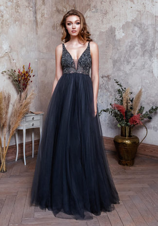 Evening dress made of tulle with Rhinestones in Iron Grey