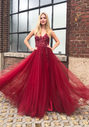 Evening dress made of tulle with rhinestones in Rio Red