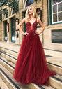 Ausgestelltes Tüll Abendkleid in Rio Red
