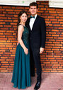 Abendkleid aus Chiffon mit Glitzerdekor in Posy Green