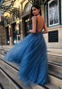 Evening dress made of tulle with rhinestones in ice blue