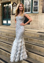 Floor-length evening dress with Feather appliqué in Ghost Gray