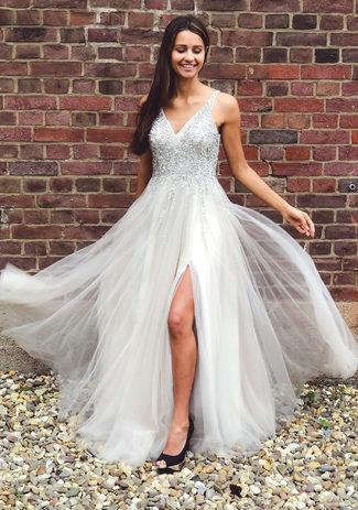 Floor-length evening dress in Ghost Gray