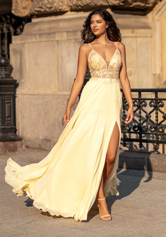 Evening dress made of Chiffon with thin straps in Sunshine Yellow
