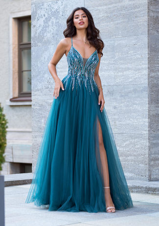Evening dress made of tulle with Rhinestones in Peacock Green
