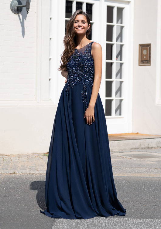 Chiffon evening dress with sequins in Twilight Blue