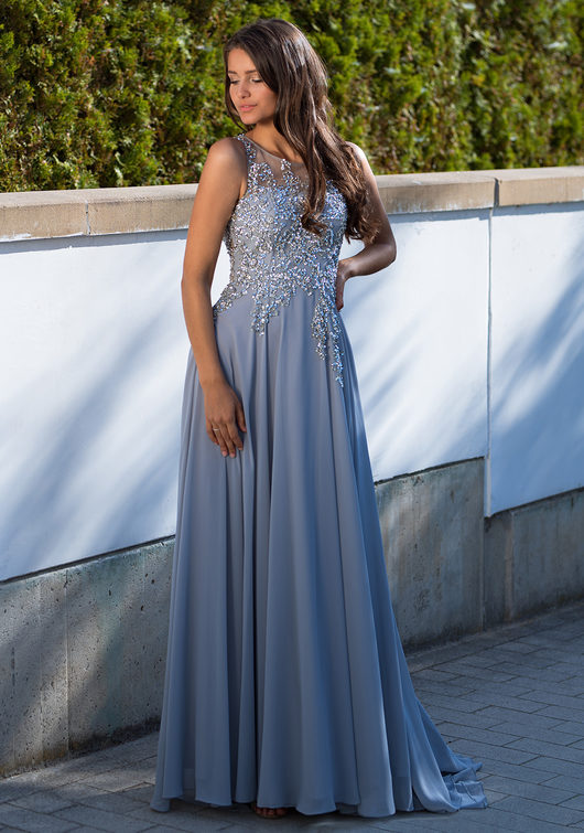 Evening dress made of Chiffon in Ghost Gray