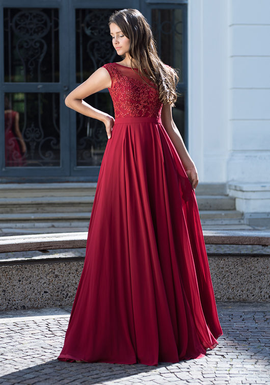 Chiffon evening dress with rhinestone appliqués in Rio Red