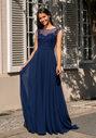 Vestido de noche de gasa con ribete de piedra en azul noche