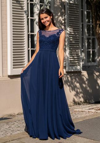 Evening dress Chiffon with stone trim in Night Blue