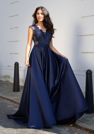 Evening dress made of Mikado in Night Blue with lace and rhinestones