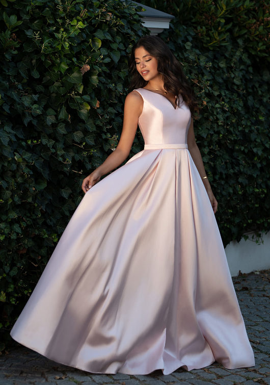 Evening dress made of Mikado with ruffles in Pearl Pink