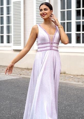 Vestido de noche con purpurina y decoración de strass en rosa purpurina