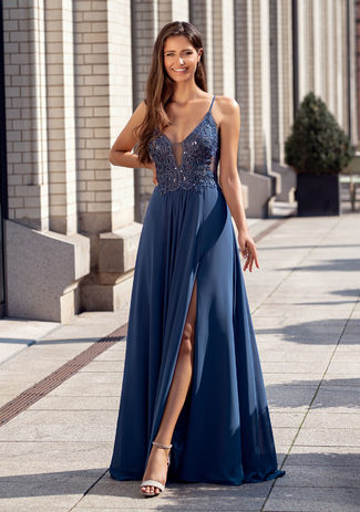 Evening dress with embroidery decorations in vintage indigo