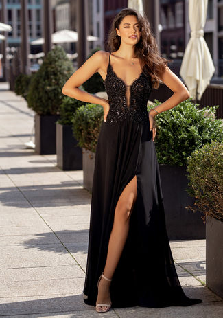 Evening dress with embroidery embellishments in Phantom Black