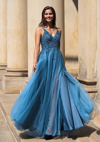 Floor-length evening dress in ice blue