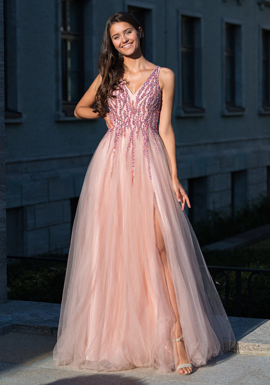 Floor-length evening dress in Dawn Pink