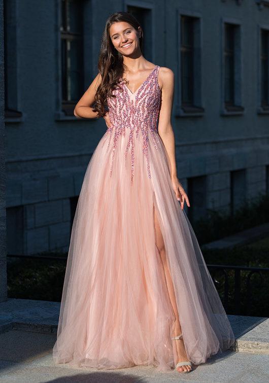 Vestido de noche largo hasta el suelo en Dawn Pink
