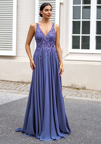 Chiffon evening dress with rhinestones in indigo gray