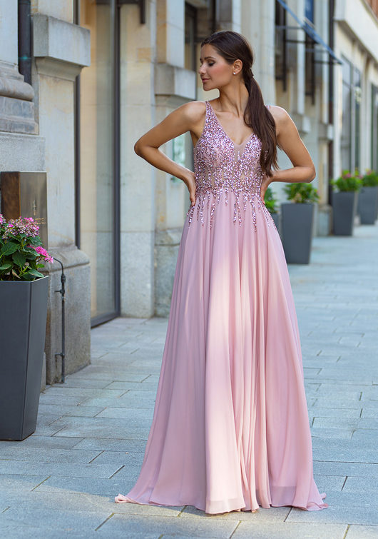 Chiffon evening dress with rhinestone embellishments in Dawn Pink