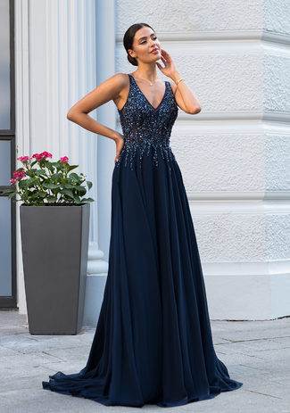 Chiffon evening dress with rhinestone embellishments in Twilight Blue