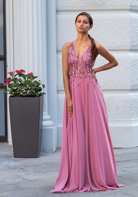 Chiffon Abendkleid mit Strass-Verzierungen in Geranium Pink