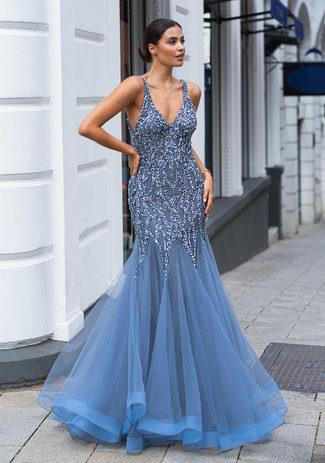 Tulle evening dress with elaborate ornamentation in vintage indigo