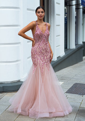 Tulle evening dress with elaborate ornament in Dawn Pink