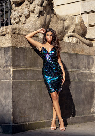 Cocktail dress with sequin trim in Royal Purple