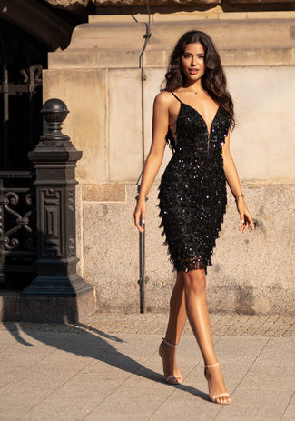 Cocktail dress with sequin trim in Phantom Black