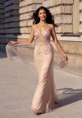 Abendkleid mit Verzierung und Überrock aus Tüll in Dawn Pink