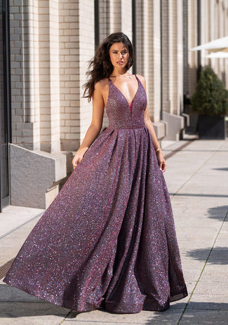 Glitter evening dress in Glitter Berry