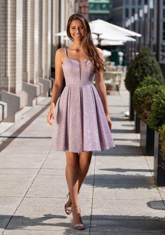 Glitter cocktail dress in Glitter Pink