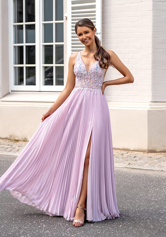 Evening dress with pleated skirt and thin straps in Lavender Snow