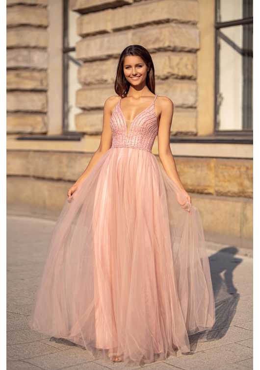 Evening dress made of tulle with lace-up in Dawn Pink
