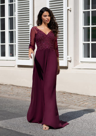 Long sleeve evening dress made of Chiffon in Royal Purple